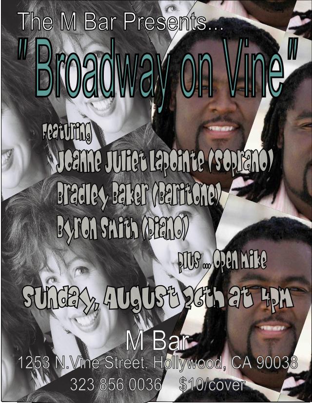 flyer for Broadway On Vine at M Bar